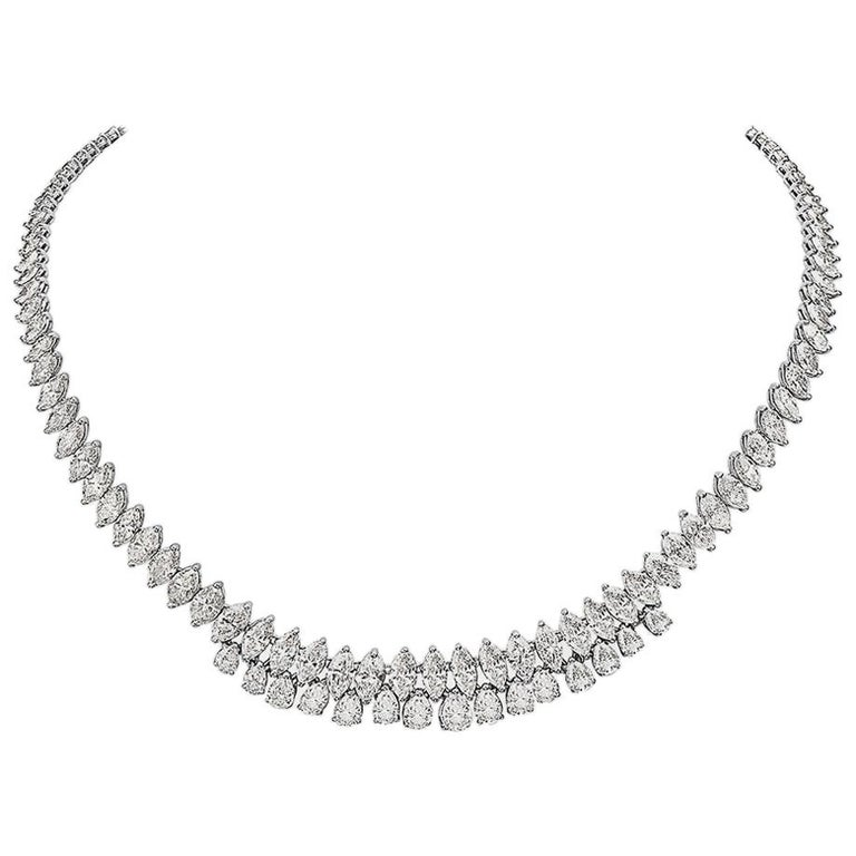 28.72 Carat Marquise and Pear Shape Diamond 18 Karat Gold Necklace For Sale