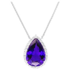 28.78 Carat Pear Shape Tanzanite Diamond Halo Pendant Necklace 18K White Gold
