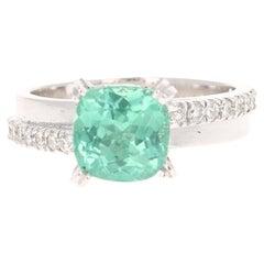 2.88 Carat Apatite Diamond 14 Karat White Gold Ring