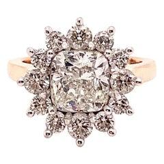 2.88 Carat Cushion Cut Halo Flower Diamond Ring 14 Karat Rose and White Gold
