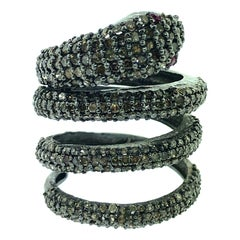 2.88 Carat Diamond and Ruby Eyes Snake Ring in Oxidized Sterling Silver
