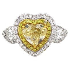 2.88 Carat Heart Shape Diamond Ring 18 Karat in Stock