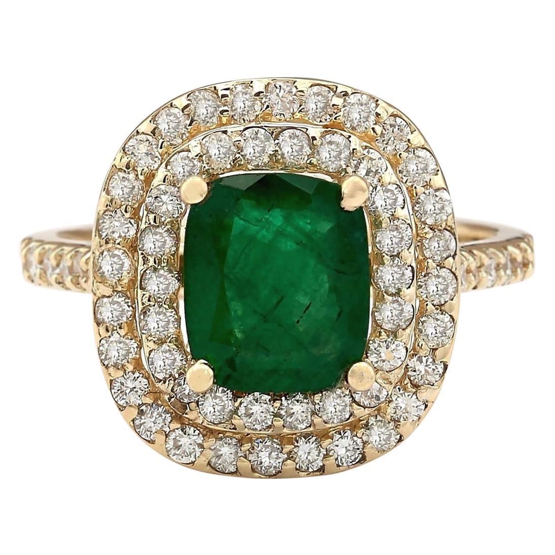 2.88 Carat Natural Emerald 18 Karat Yellow Gold Diamond Ring