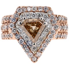 2.88 Carat Natural Fancy Brown Diamond Engagement Ring 14 Karat Rose Gold