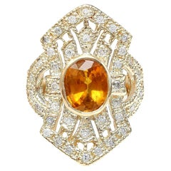 2.88 Carat Natural Sapphire 18 Karat Solid Yellow Gold Diamond Ring