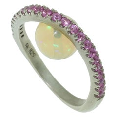 2.88 Carat Opal and Pink Sapphire Statement Ring