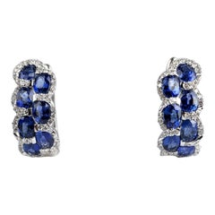 2.88 Carat Oval Cut Sapphire Lever-Back Earrings in White Diamond Halo
