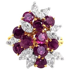 2.88 Carat 'total weight' Ruby and Diamond Cluster Ring in 18 Karat Yellow Gold