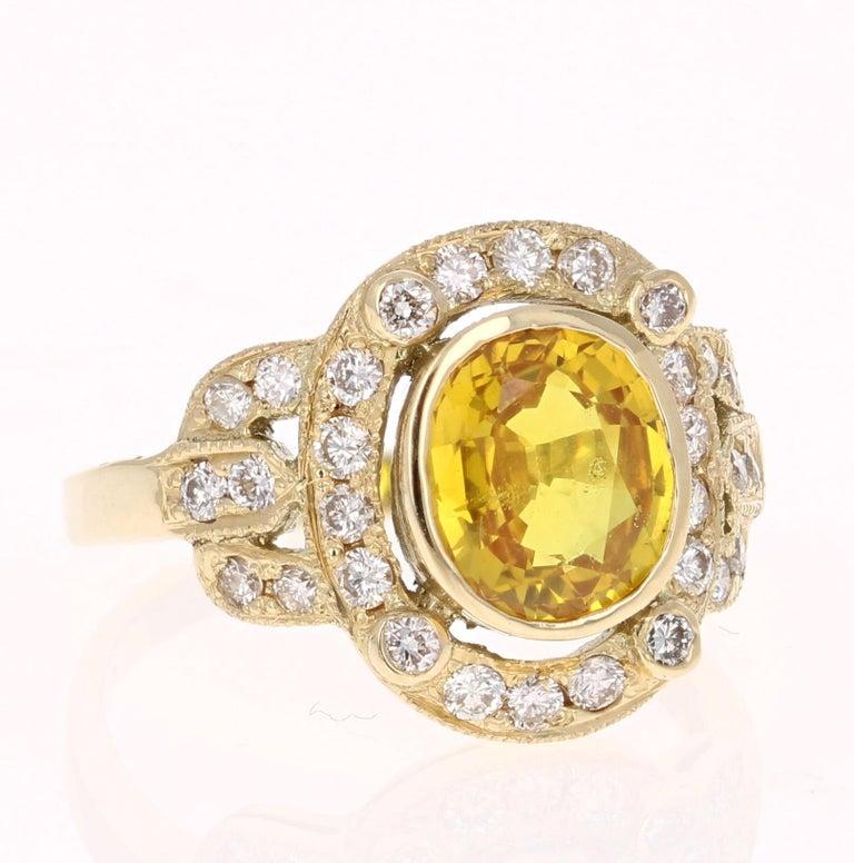 Oval Cut 2.88 Carat Yellow Sapphire Diamond Yellow Gold Art Deco Ring