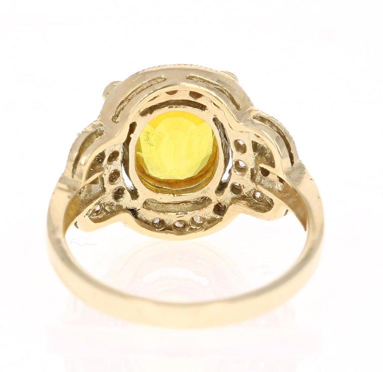 2.88 Carat Yellow Sapphire Diamond Yellow Gold Art Deco Ring In New Condition In San Dimas, CA