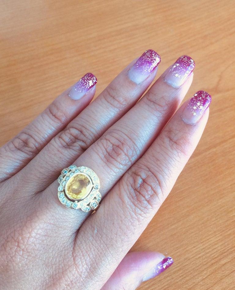 Women's 2.88 Carat Yellow Sapphire Diamond Yellow Gold Art Deco Ring
