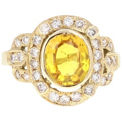 2.88 Carat Yellow Sapphire Diamond Yellow Gold Art Deco Ring
