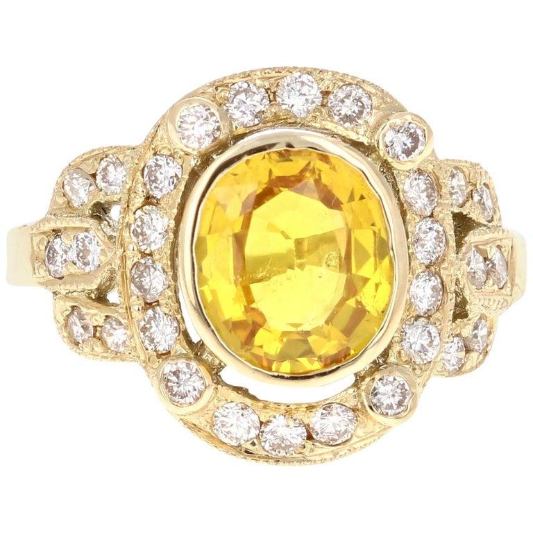 2.88 Carat Yellow Sapphire Diamond Yellow Gold Art Deco Ring