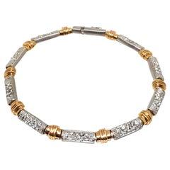 2.88 Carat Yellow White Gold Diamond Tennis Bracelet