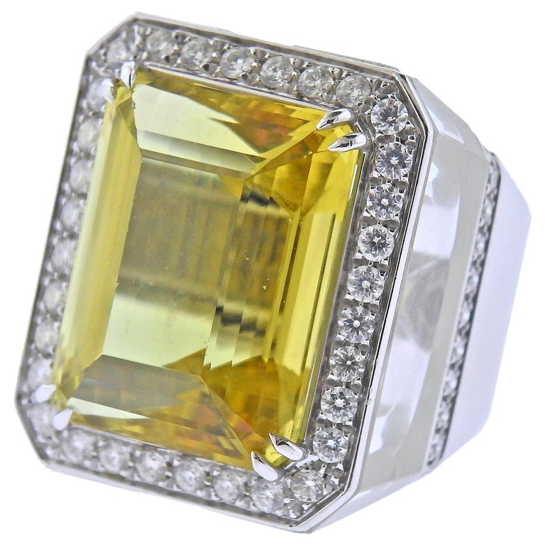28.80 Carat Golden Beryl Diamond Crystal Gold Ring For Sale