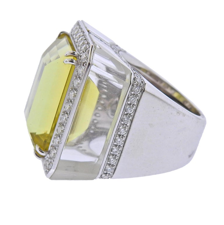 Round Cut 28.80 Carat Golden Beryl Diamond Crystal Gold Ring For Sale