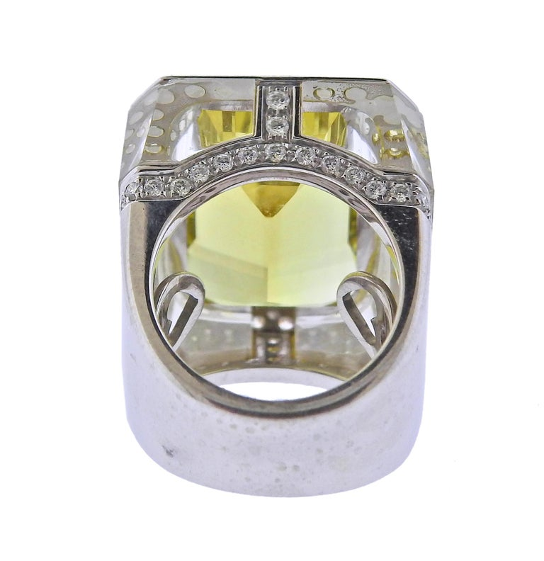 28.80 Carat Golden Beryl Diamond Crystal Gold Ring In Excellent Condition For Sale In Boca Raton, FL