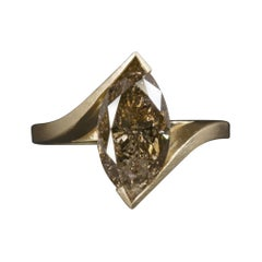 2.88Carat Natural Cognac Diamond Solitaire Ring Satin Yellow Gold Marquise Bypas