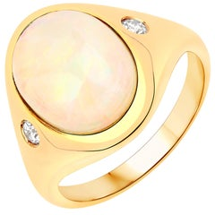 2.89 Carat Ethiopian Opal and Diamond 14 Karat Yellow Gold Ring