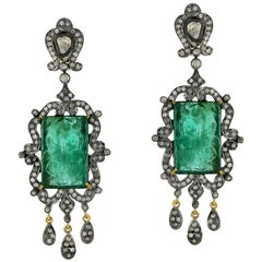 28.9 Carat Hand Carved Emerald Diamond Antique Style Earrings