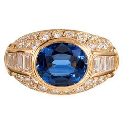 2.89 Carat Sapphire and Diamond Ring