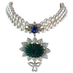 28.95 Carat Carved Emerald, Tanzanite and Pearl Choker