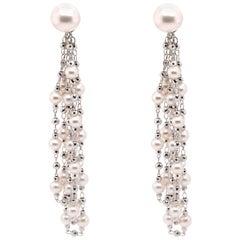28.97 Carat 'Waterfall Effect' Japanese Akoya Pearl Dangle 18K Gold Earring