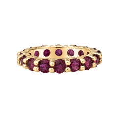 2.89ctw Round Red Natural Ruby, 18kt Yellow Gold Stacking Eternity Band