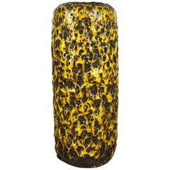 Pottery Super Yellow Color Fat Lava Multi-Color Vase Scheurich WGP, 1970s