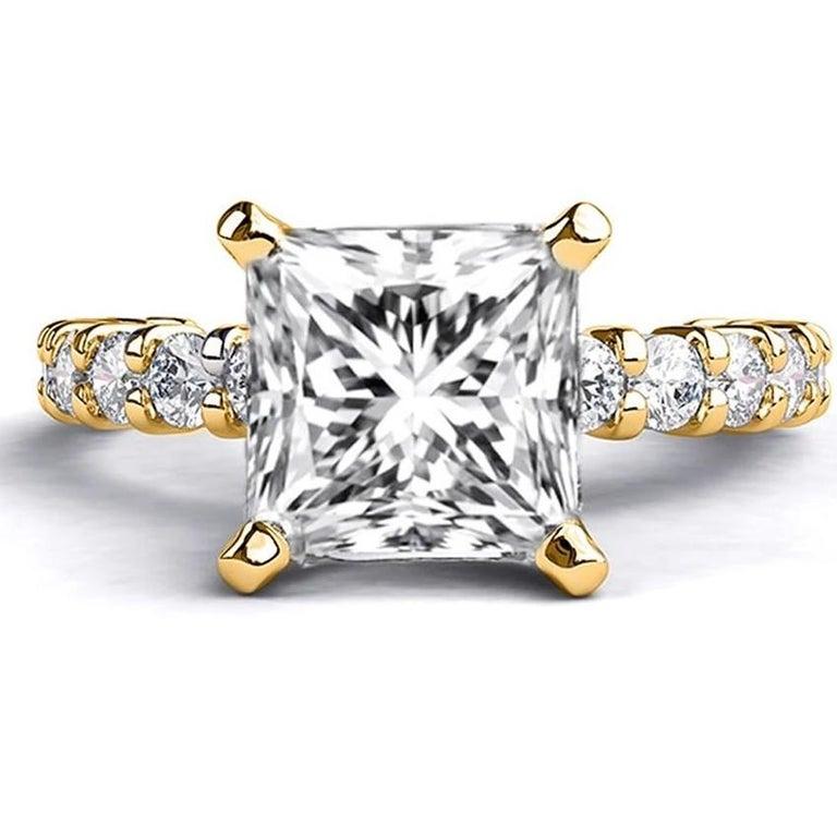 Art Deco 2.9 Carat 14 Karat Yellow Gold Princess Diamond Ring, Vintage Style Ring For Sale