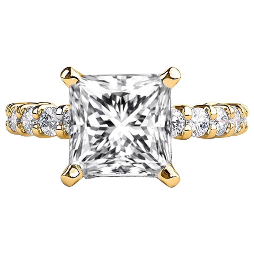2.9 Carat 14 Karat Yellow Gold Princess Diamond Ring, Vintage Style Ring
