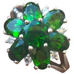 Grüner Diopsid 2,9 Karat Diamant-Ring, Ben Dannie