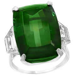 29 Carat Green Tourmaline and Solitaire Diamond Cocktail Ring Platinum Estate