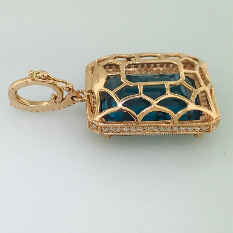 29 Carat London Blue Topaz & 1/2 Carat Diamond Pendant Enhancer in 14k Rose Gold For Sale 4