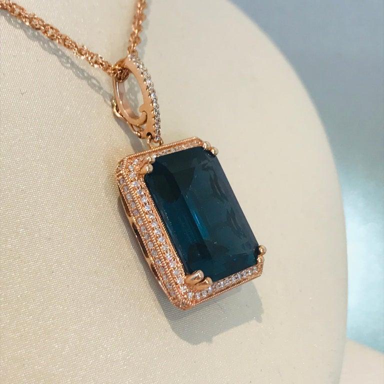 Artisan 29 Carat London Blue Topaz & 1/2 Carat Diamond Pendant Enhancer in 14k Rose Gold For Sale