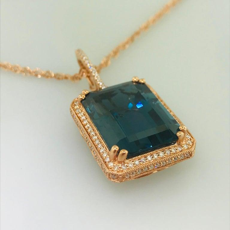 29 Carat London Blue Topaz & 1/2 Carat Diamond Pendant Enhancer in 14k Rose Gold In New Condition For Sale In Austin, TX