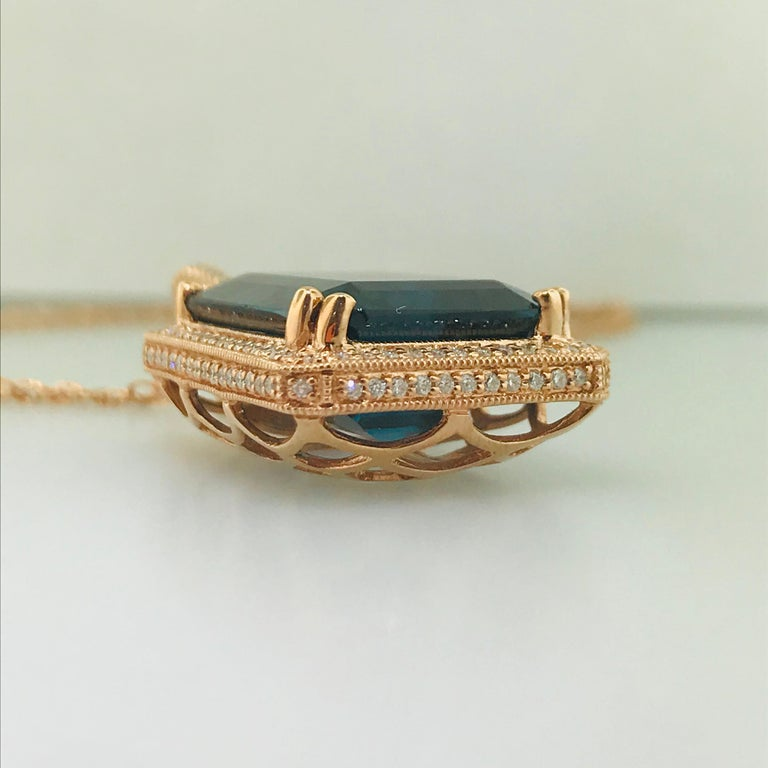 Women's 29 Carat London Blue Topaz & 1/2 Carat Diamond Pendant Enhancer in 14k Rose Gold For Sale