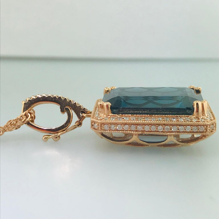 29 Carat London Blue Topaz & 1/2 Carat Diamond Pendant Enhancer in 14k Rose Gold For Sale 1