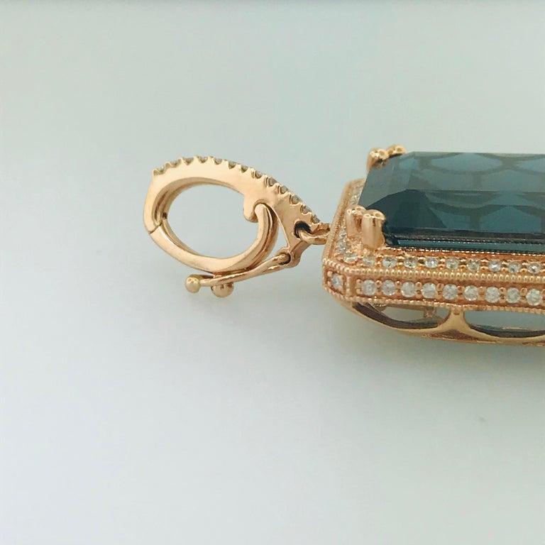 29 Carat London Blue Topaz & 1/2 Carat Diamond Pendant Enhancer in 14k Rose Gold For Sale 2