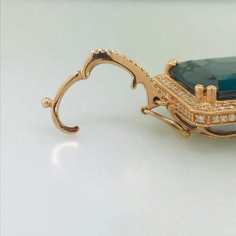 29 Carat London Blue Topaz & 1/2 Carat Diamond Pendant Enhancer in 14k Rose Gold For Sale 3