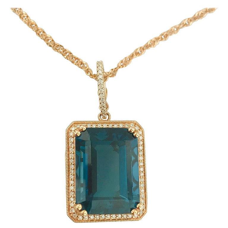 29 Carat London Blue Topaz & 1/2 Carat Diamond Pendant Enhancer in 14k Rose Gold For Sale