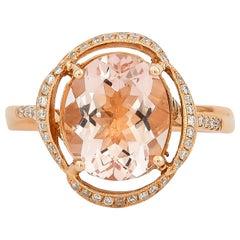 2.9 Carat Morganite and Diamond Ring in 18 Karat Rose Gold