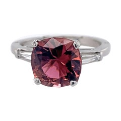 2.9 Carat Pink Tourmaline Engagement Ring with Baguettes in Platinum & Gold