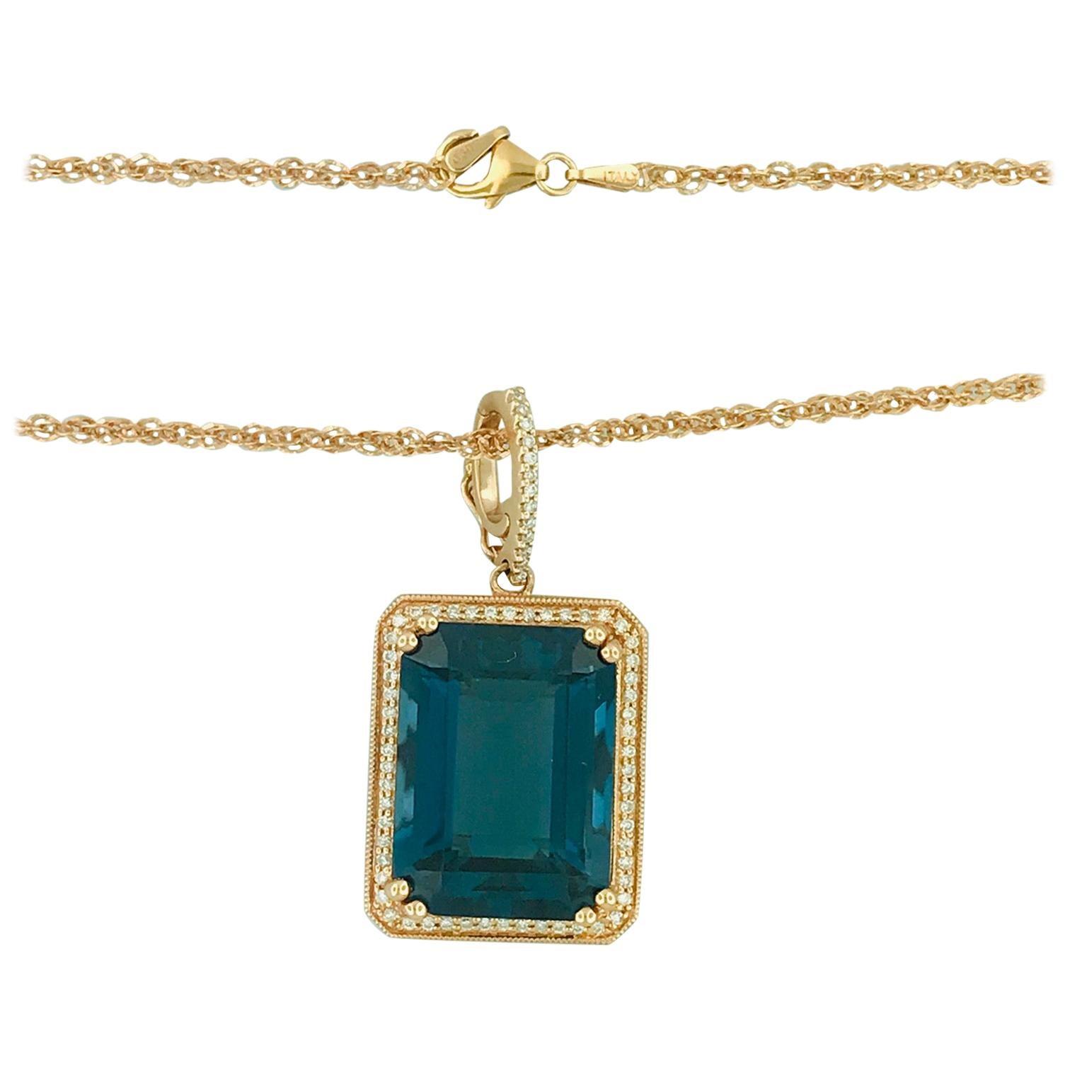 29 Carat Royal Blue Topaz .60 Carat Diamond Rose Gold Necklace Pendant Enhancer