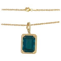 29 Carat Royal Blue Topaz .60 Carat Diamond Rose Gold Necklace Pendant Enhancer