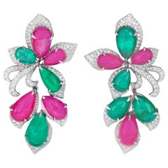 29 Carat Ruby and 17 Carat Emerald Chandelier Earring