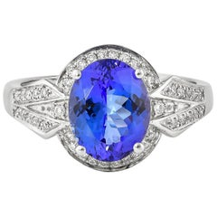 2.9 Carat Tanzanite and White Diamond Ring in 18 Karat White Gold
