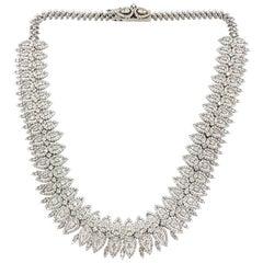 29 Carat Round Brilliant & Marquise Diamond 18 Karat White Gold Necklace