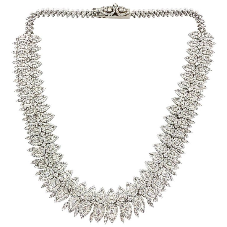 29 Carat Wide Diamond 18 Karat White Gold Necklace For Sale