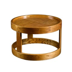 Round Parquet Solid Oak Coffee Table or Side Table by Howard